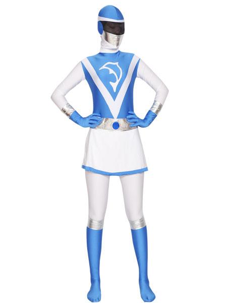 Halloween Sky Blue White Superhero Zentai Suit Lycra Spandex Unisex Costume Cosplay Halloween