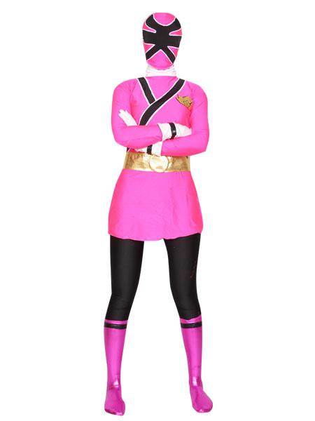 Halloween Pink And Black Shiny Metallic Lycra Super Hero Zentai Suit Halloween