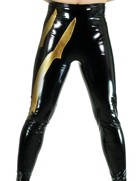 Halloween Black And Gold Shiny Metallic Wrestling Pants Halloween