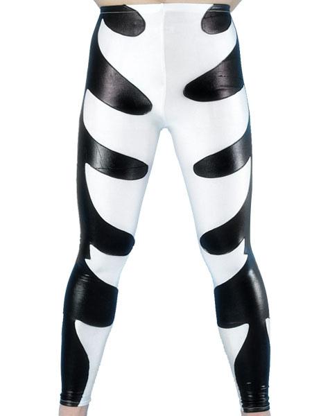 Halloween Black And White Shiny Metallic Wrestling Pants Halloween