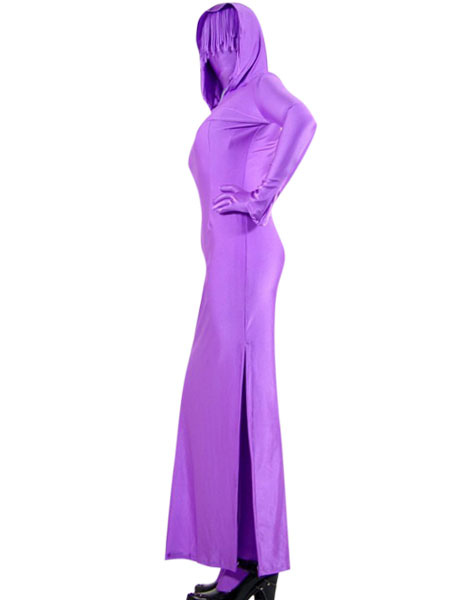 Halloween Purple Two Piece Lycra Zentai Suit With Dress