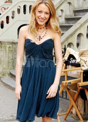 Fashion Strapless Satin Gossip Girl Star Kleid - Milanoo.com