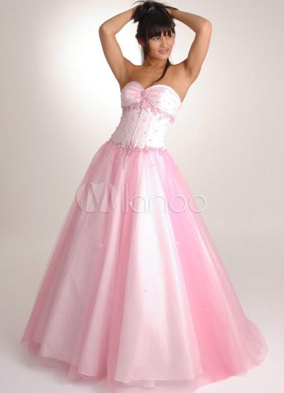 Vestido de novia de Rosa rebordear vestido de raso Ball tul Para ...