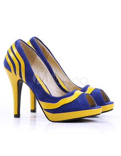 Yellow And Blue 3 7/10'' High Heel Peep Toe Nubuck PU Women's ...