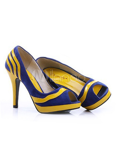 ... Yellow And Blue 3 7/10'' High Heel Peep Toe Nubuck PU Women's ...