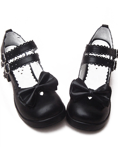 Black Chunky Heels Shoes Straps Bow Buckles Hollow Heart