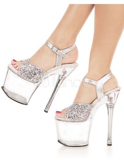 nuevo estilo 87395 845d9 20 cm de alto tacón 10 cm de plataforma transparente Zapatos sexy