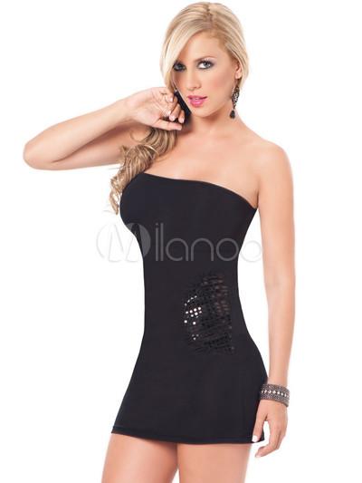 78d0c47aa9ce Cute Strapless Black Club Wear Mini Dress - Milanoo.com