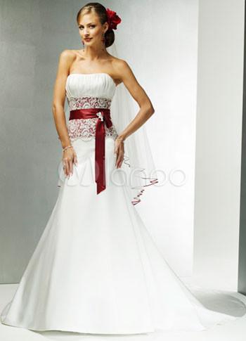 Amazing Vestido blanco una línea de longitud suelo raso vestido de ...