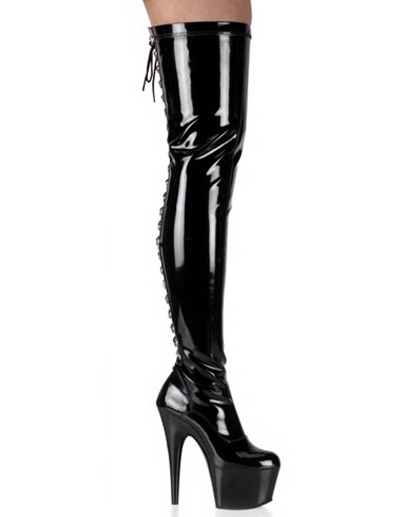 Buy Black 5 7/10'' High Heel Thigh High Patent Leather Sexy Boots for $85.49 in Milanoo store