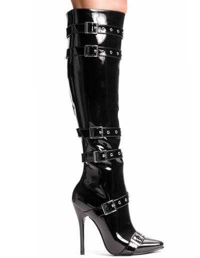 Black Knee High 4 1/10'' Heel Leather Boots