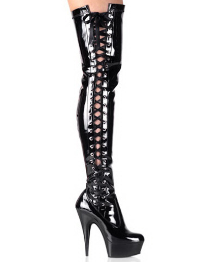 Buy Black Thigh High 5 7/10'' Heel Patent Leather Sexy Boots for $104.49 in Milanoo store