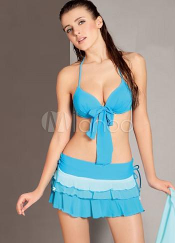 reloj ff7dd 8833d Spandex azul malla Vestido de traje de baño Pantie falda de dos piezas