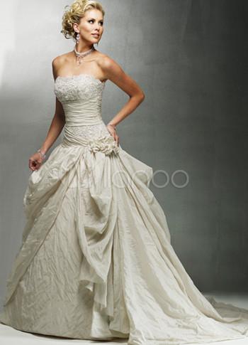 Gorgeous Light Brown Ball Gown Strapless Taffeta Wedding No 1