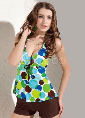 6ede5afdb206 Verde y Café Spandex Pantie Vestido de baño de dos piezas tankini