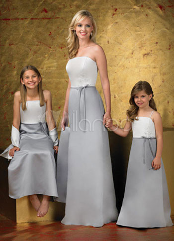 Strapless Silver Sash Satin Junior Bridesmaid Dress Milanoo Com