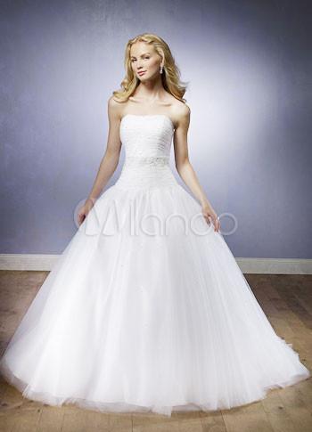 Strapless Ball Gown White Floor Length Satin Tulle Debutante