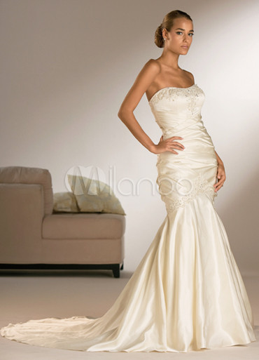 Champagne Mermaid Trumpet Strapless Sweep Satin Wedding Dress No 1