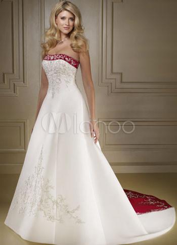 Elegante Bianco e Rosso una linea di abiti da sposa in raso-No.1 683481c5dac