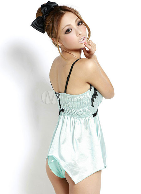 bf79d42ed72e ... Le ragazze della novità a breve Impero Satin Sage Mezzo pigiama One- Piece-No ...