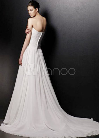 Ivory Satin And Net Strapless Empire Waist Wedding Dress
