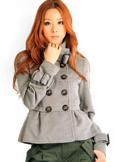 new concept e0c01 c430b Cappotto grigio Attraente donna panno di lana di