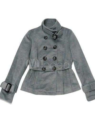 new concept f749e 276bb Cappotto grigio Attraente donna panno di lana di