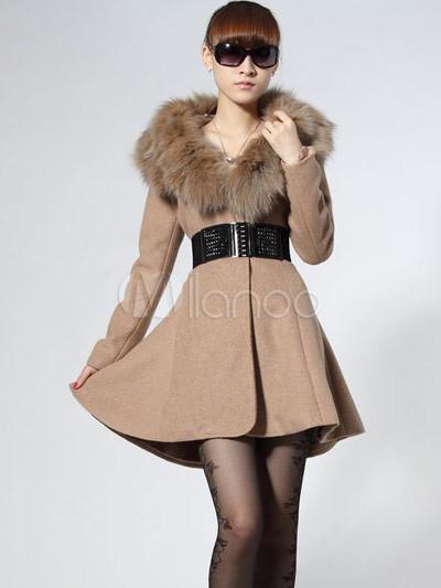 save off 7d0bc 94a7c Cappotto Donna Elegante Albicocca panno di lana di
