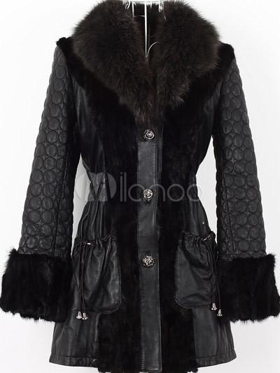 elegant black fox fur collar mink fur sheepskin ladies