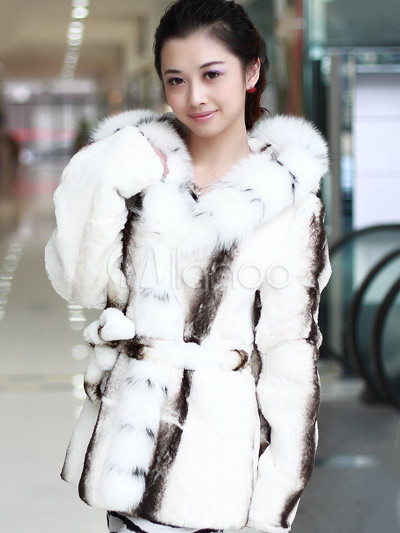 Gorgeous White Fox Fur Rabbit Fur Ladies Fur Coat - Milanoo.com