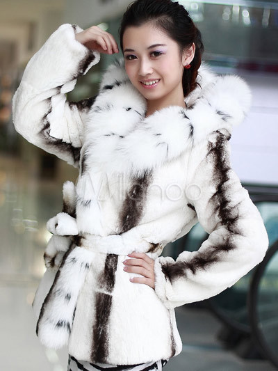 Gorgeous White Fox Fur Rabbit Fur Ladies Fur Coat