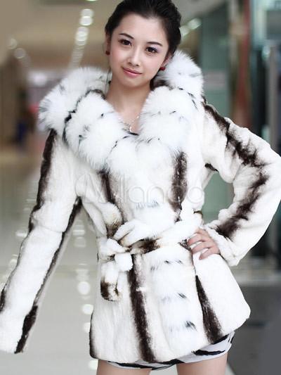Abrigo de piel de señoras de pieles de conejo de piel de zorro blanco Gorgeous