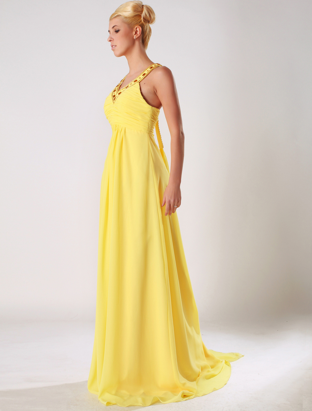 Nobel Daffodil Bandeau V-Neck Chiffon Evening Dress