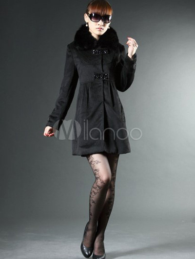 san francisco 851bf 61be3 Attraktive schwarzer Wolle Fox Pelzkragen Damen Mantel