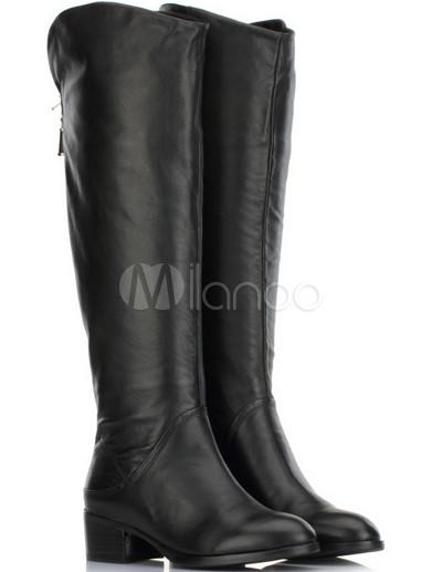 c2bbb0c0909f Black 2   Heel Flat Zip Cowhide Fashion Knee High Boots - Milanoo.com