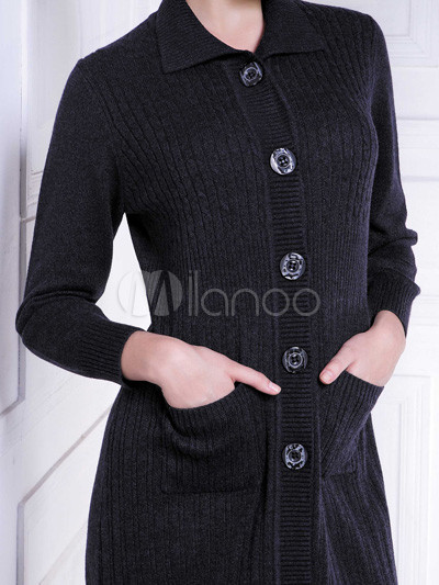 Elegant Black Pockets 100% Cashmere Women's Long Cardigan Sweater ...