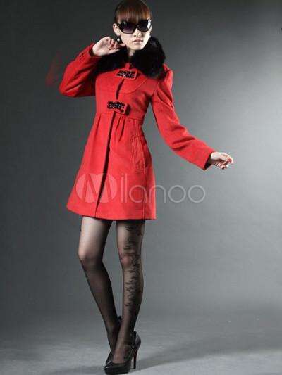 Fabulous Roter Wolle Fox Pelzkragen Damen Mantel Milanoocom