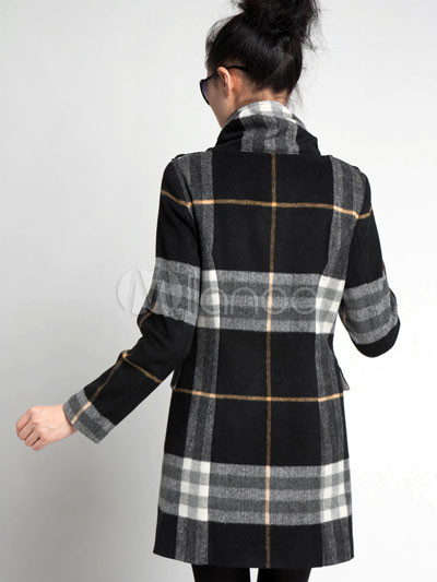 Fashional Black And White 90 Wool 10 Polyester Plaid