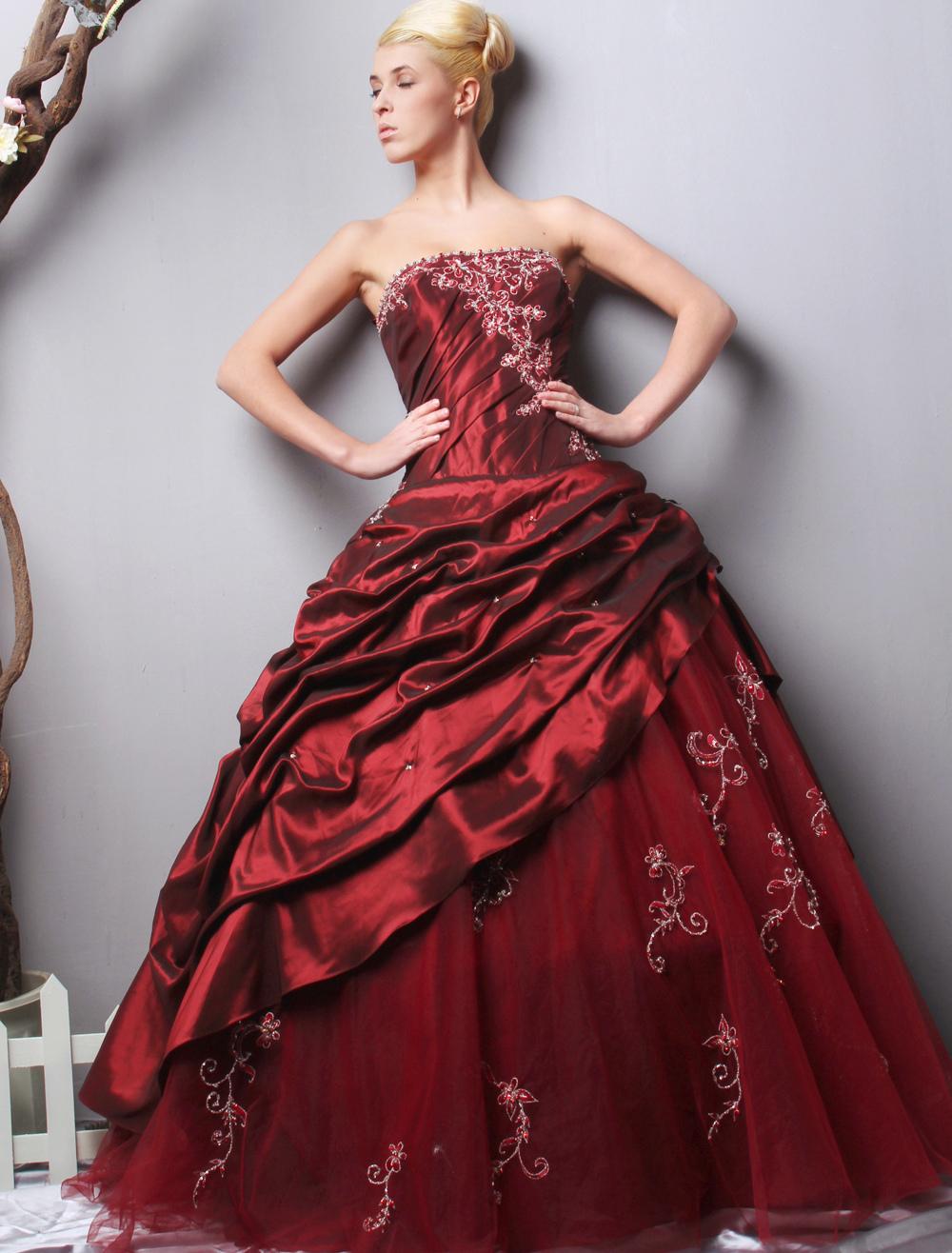 Burgundy Ball Gown Strapless Quinceanera Dress