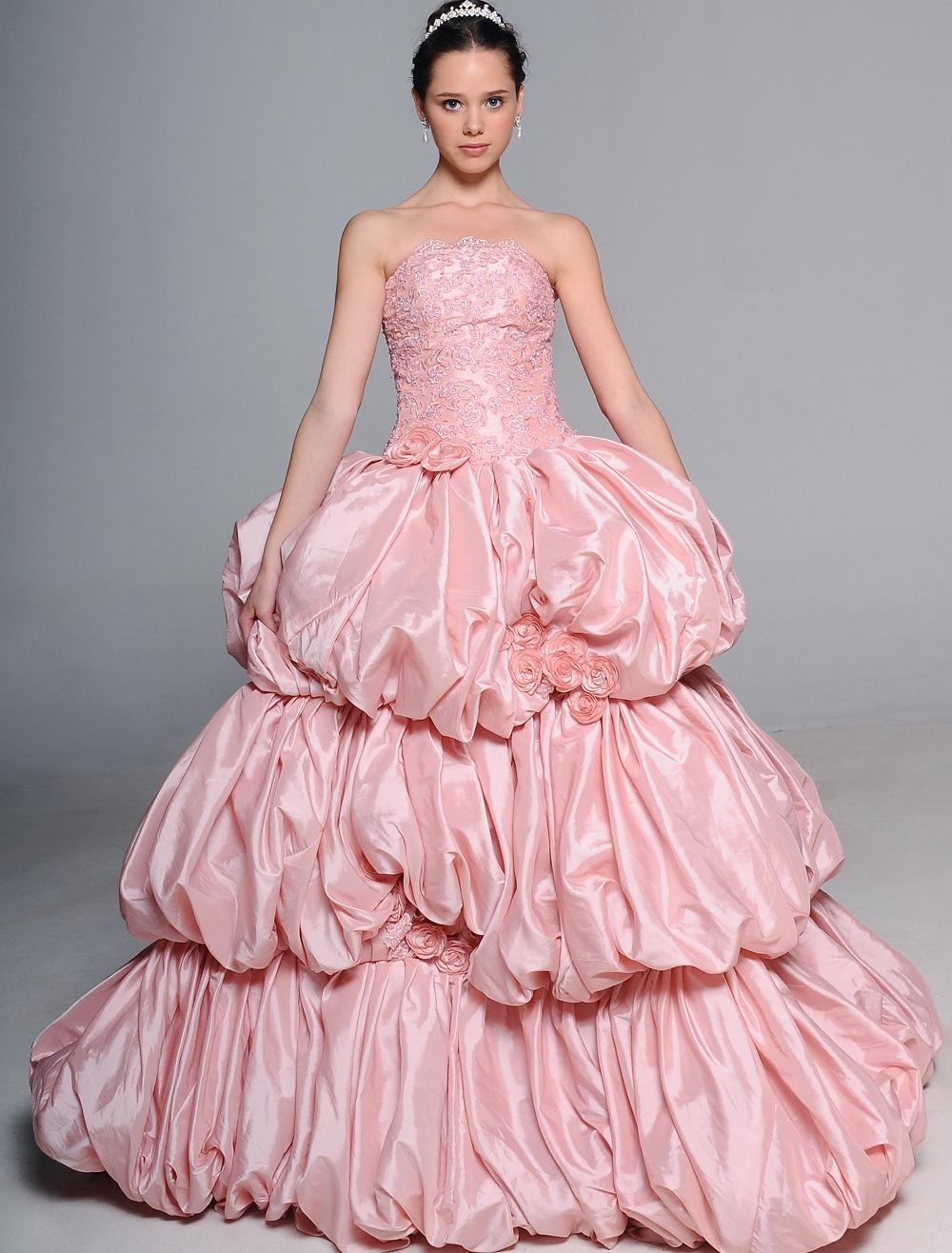 Vestido de boda de tafetán rosado sin tirantes de cola barrida ...