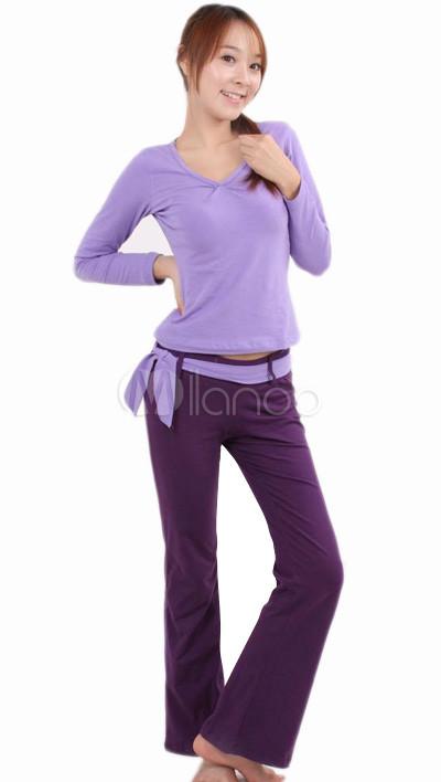 Urban Light Purple Top Deep Purple Pants Long Sleeves Lycra Womenu0027s Yoga ...