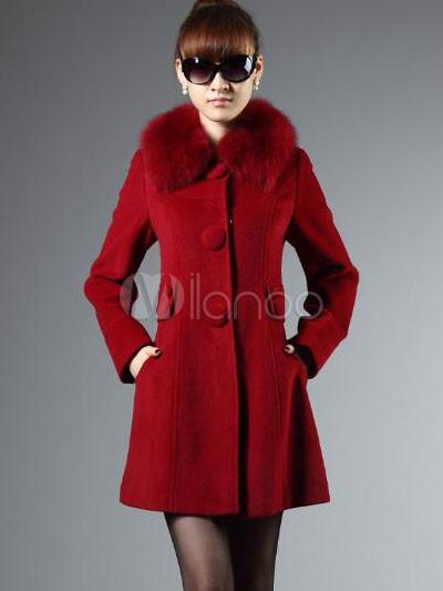 Warme Rot 70 30 Baumwolle Pelz Einreiher Damen Mantel Milanoocom