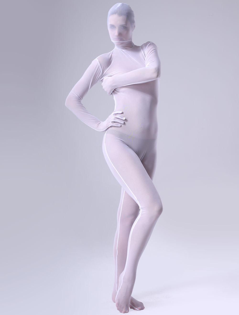 White Perspective Zentai Suit Lace Unisex Bodysuit For Halloween