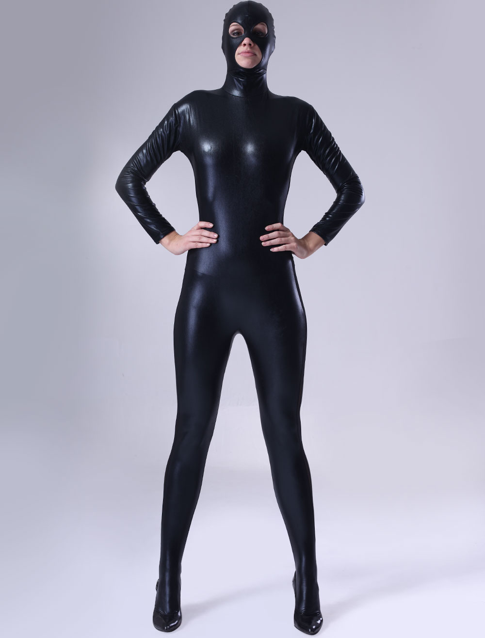 Zentai Suit Black Shiny Metallic Eyes Mouth Opened Catsuit Halloween