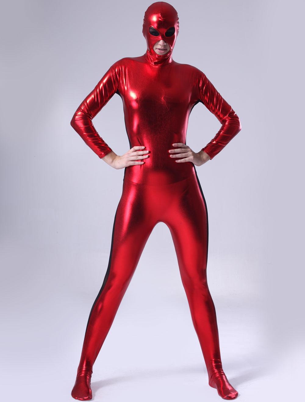 Red Shiny Metallic Zentai Suit Halloween cosplay costume for Women Halloween