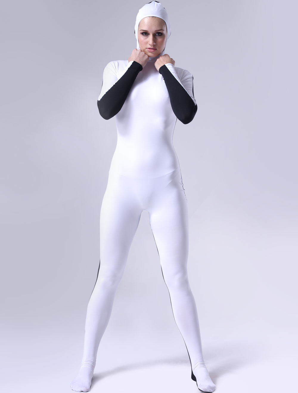 Black And White Lycra Catsuit for Halloween with Opened Face Morphsuits Halloween