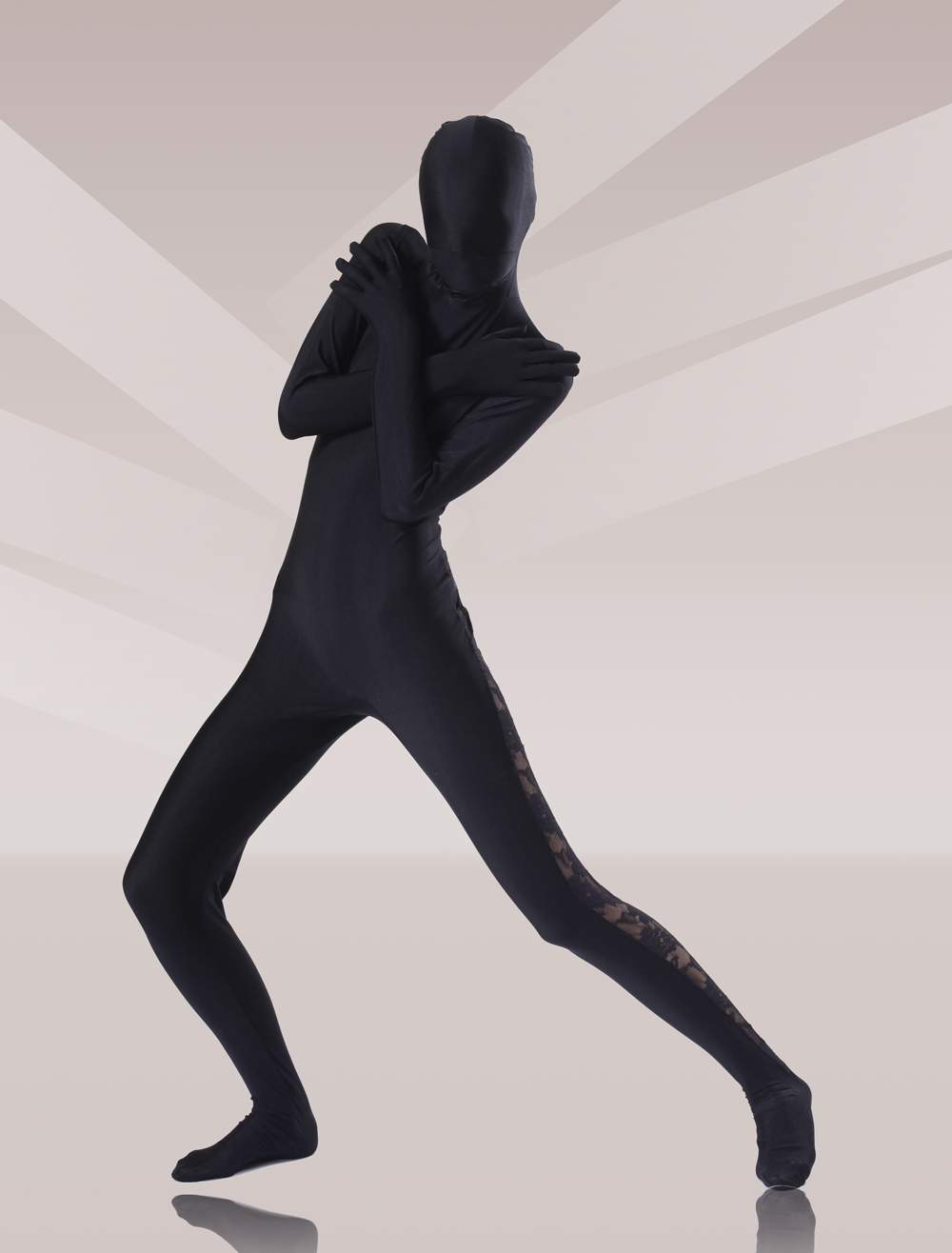 Black Lycra Lace Unisex Zentai Suits Morphsuits Halloween