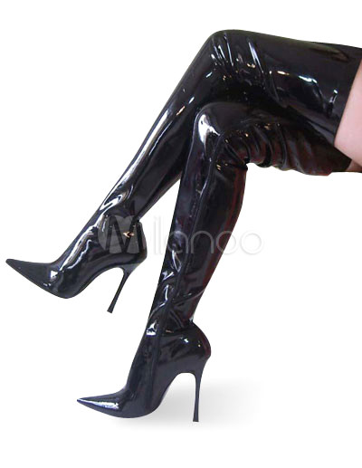 High Heel Black Patent Over The Knee Non-Platform Boots - Milanoo.com