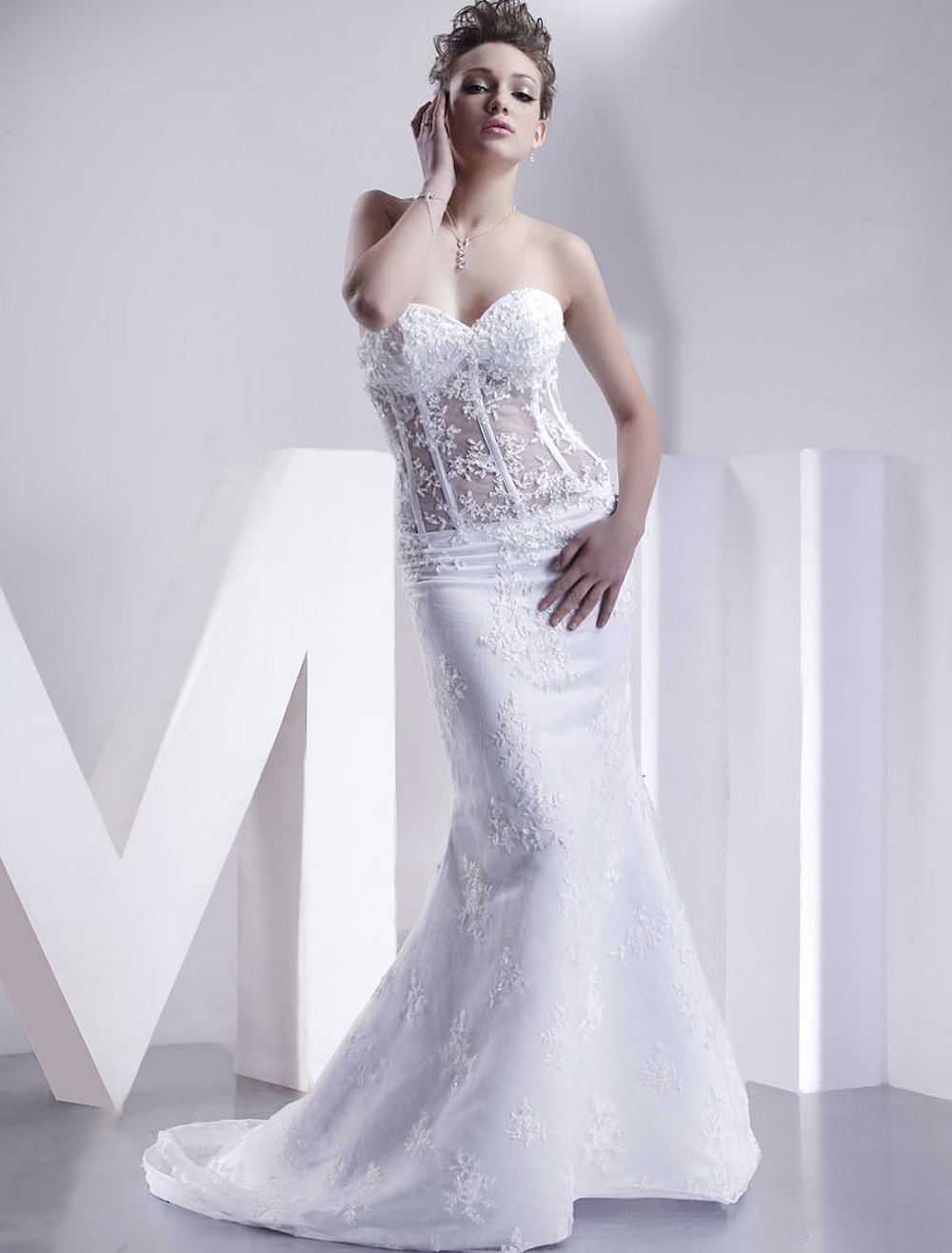 Buy White Wedding Dresses Strapless Mermaid Bridal Dress Lace Applique Sweetheart Neckline Boned Illusion Train Wedding Gown for $152.99 in Milanoo store