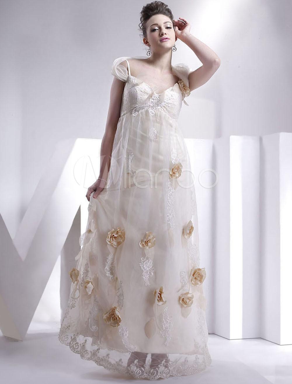 Floor-Length Champagne Wedding Dress with V-Neck